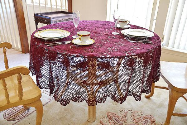 round crochet tablecloth, merlot color round crochet tablecloth