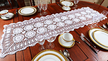 Crochet runners, 16x72 crochet runners. white crochet runners, ecru crochet runners