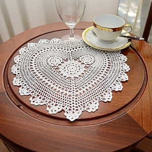 Sun Flowers Crochet Heart (shape) Doilies. White/ Ecru