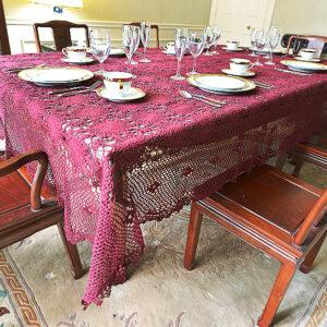 crochet tablecloth, Merlot Wine color crochet tablecloth