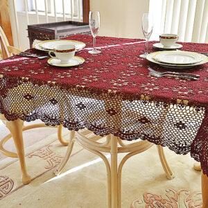 square crochet tablecloth, merlot color crochet tablecloth