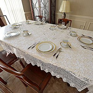 Traditional Crochet Lace Tablecloths. White colored.