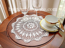 Crochet Round Doilies. White/Ecru color. (12pieces)