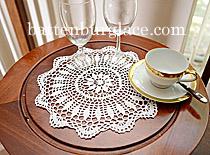 Crochet Round Doilies. White/Ecru color. (12pieces)