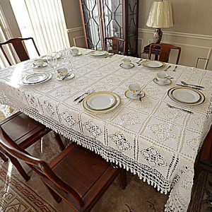 "Old Fashioned Crochet Tablecloths with ""TASSELS"". White colored."