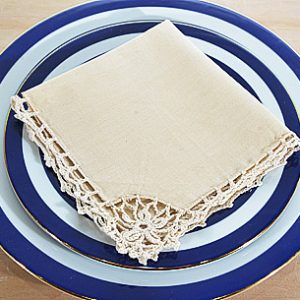 Crochet Linen Napkins. Ecru color. (12 pieces pack)